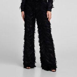 NWOT Zara Black Fringe  High-Waisted Pants